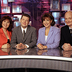 The early 2000s cast of This Hour Has 22 Minutes included Mary Walsh, Cathy Jones, Greg Thomey and the first cast change when Colin Mochrie joined on after much success as an improvisational comedian.